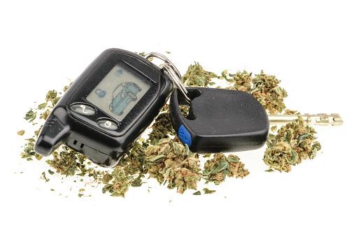 Car keys lying in marijuana